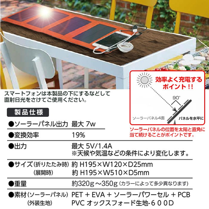 ソーラー充電器7W