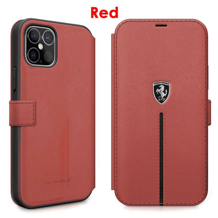 フェラーリ・公式ライセンスiPhone12 Pro、iPhone12、iPhone12mini本革手帳型ケース