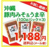【お試し価格!】沖縄豚肉みそ&うま辛(100gパック×3) 1,100円送料込(メール便)