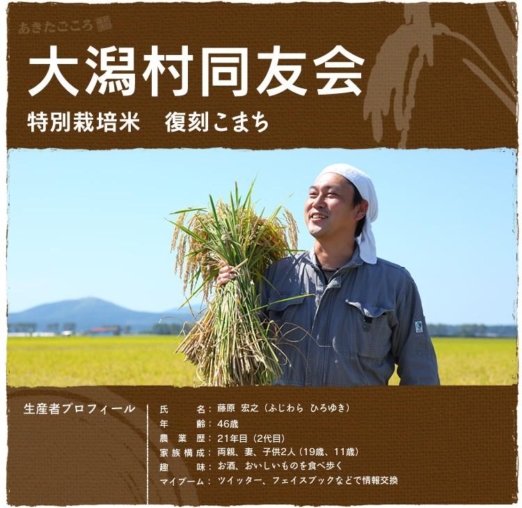 大潟村同友会 特別栽培米 復刻こまち 生産者氏名:藤原宏之
