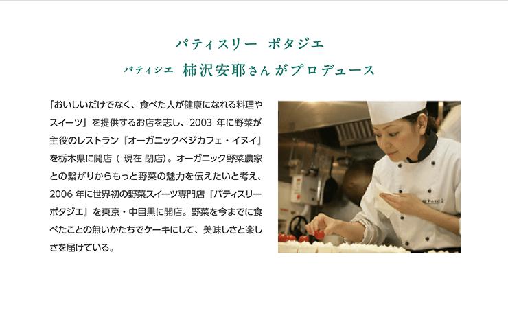パティスリー ポタジエパティシエ 柿沢安耶さんがプロデュース 「おいしいだけでなく、食べた人が健康になれる料理やスイーツ」を提供するお店を志し、2003年に野菜が主役のレストラン『オーガニックベジカフェ・イヌイ』を栃木県に開店(現在 閉店)。オーガニック野菜農家との繋がりからもっと野菜の魅力を伝えたいと考え、2006年に世界初の野菜スイーツ専門店『パティスリー ポタジエ』を東京・中目黒に開店。野菜を今までに食べたことの無いかたちでケーキにして、美味しさと楽しさを届けている。