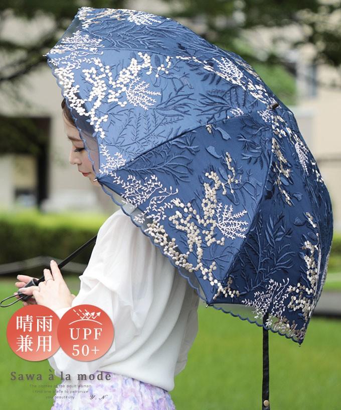 刺繍レースの晴雨兼用折りたたみ日傘【4月5日12時再入荷】