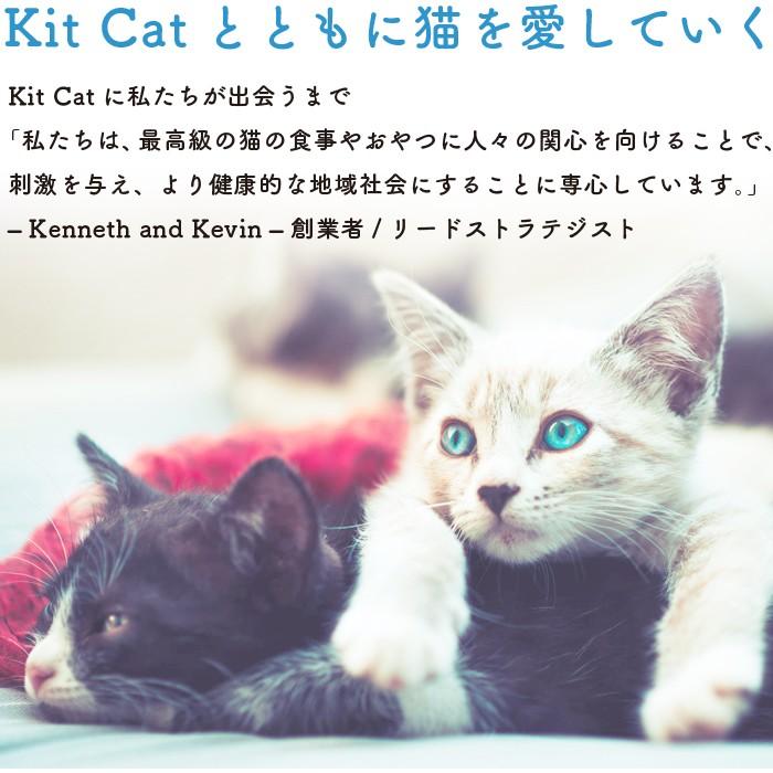 Kit  Catとともに猫を愛していく。Kit Catに私たちが出会うまで。「私たちは、最高級の猫の食事やおやつに人々の関心を向けることで、刺激を与え、より健康的な地域社会にすることに専心しています。」 - Keneeth and Kevin - 創業者/リードストラテジスト