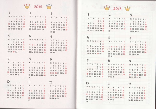 カレンダー カレンダー 2015 スケジュール : 2015年 A6タイプ スケジュール ...
