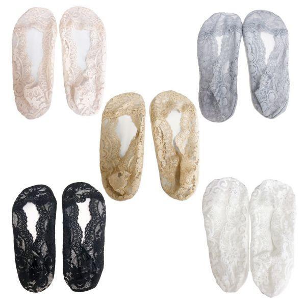 フットカバー 5色 セット レディース ソックス 靴下 足袋 パンプス レース 刺繍 足 脚 カバー 送料無料 alife 06