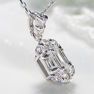 商品画像4 k18WG 0.2ct バケットカット ダイヤモンド ネックレス