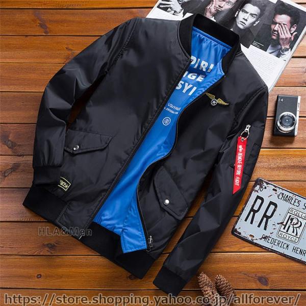 ジャケット MA1 メンズ リバーシブル ナイロンジャケット フライトジャケット スタジャン ミリタリー アウター 両面着用 2019秋冬 新作|allforever|19
