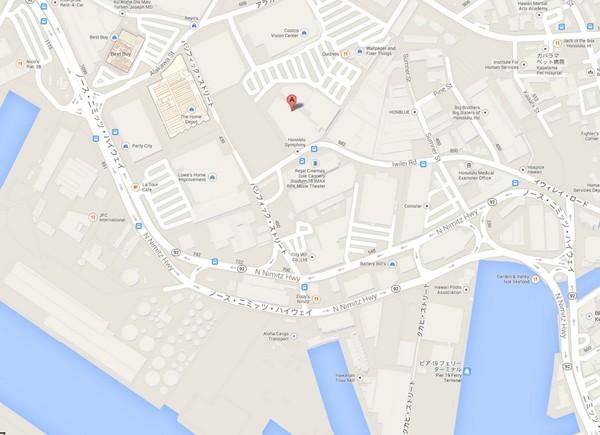 地図:アロアロハワイアン ホノルル店