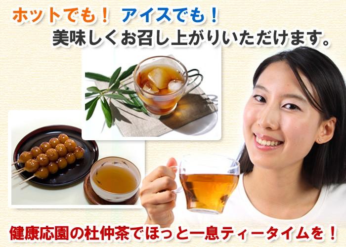 ホットでも!アイスでも!美味しくお召し上がりいただけます。杜仲茶でほっと一息ティータイムを!