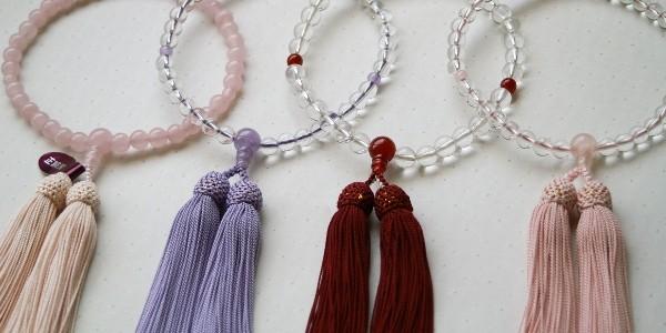 女性用 片手念珠 4種 ローズクォーツ共仕立、水晶藤雲石仕立、水晶瑪瑙(メノウ)仕立、水晶ローズクォーツ仕立