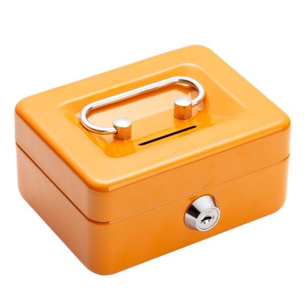 ミニ手提げ金庫 貯金箱 A7 小銭投入ボックス 鍵付き 金属製 防犯 保管 業務用 子供 ホワイト ブルー グリーン オレンジ|amirabear|07