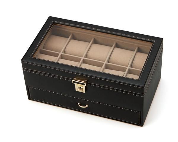 腕時計ケース 腕時計ボックス 15本収納 高級ウォッチケース ウォッチボックス 合成皮革レザー コレクションケース 腕時計ケース 収納BOX 収納ボックス 腕時計15本用 保管・収納 ウォッチ・アクセサリー