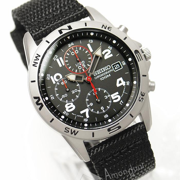 逆輸入セイコー 逆輸入SEIKO ミリタリー クロノグラフ腕時計