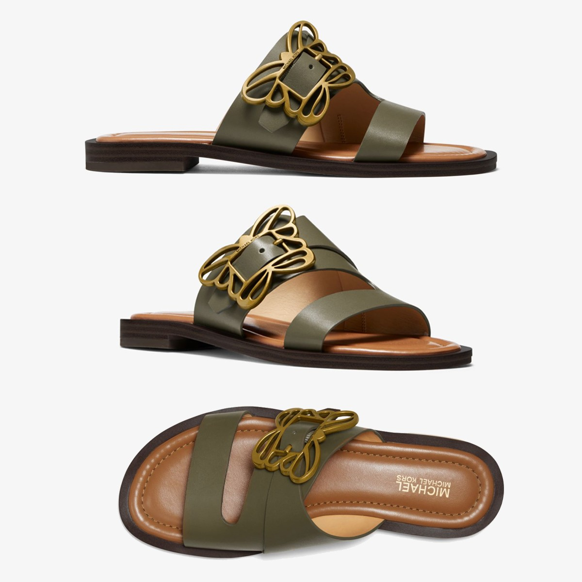 50a09850e2e MICHAEL KORS Lyra Butterfly Embellished Leather Sandal マイケル ...
