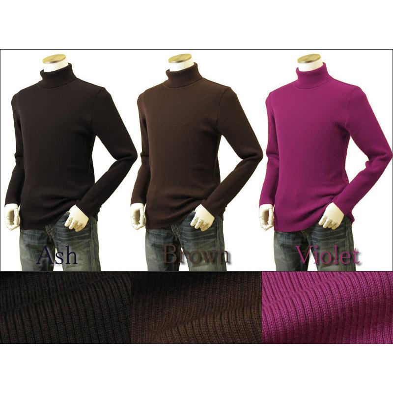 メンズ リブタートルネックニット キャッシュウール100%セーター 日本製 イタリア糸 送料無料 トップス|amu|16