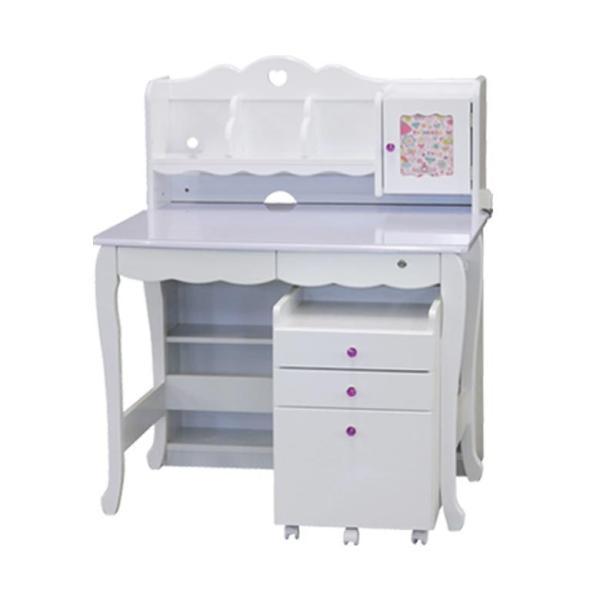 学習机 3点セット シンプル かわいい 白 ホワイト ブラウン ピンク パープル ハート システムデスク デスク ワゴン 書棚 組替え 子供部屋家具|aneinn|25