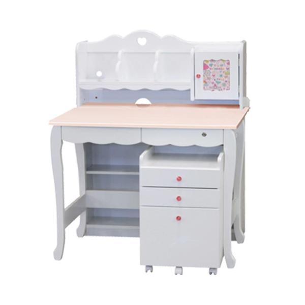 学習机 3点セット シンプル かわいい 白 ホワイト ブラウン ピンク パープル ハート システムデスク デスク ワゴン 書棚 組替え 子供部屋家具|aneinn|24