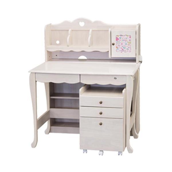 学習机 3点セット シンプル かわいい 白 ホワイト ブラウン ピンク パープル ハート システムデスク デスク ワゴン 書棚 組替え 子供部屋家具|aneinn|22