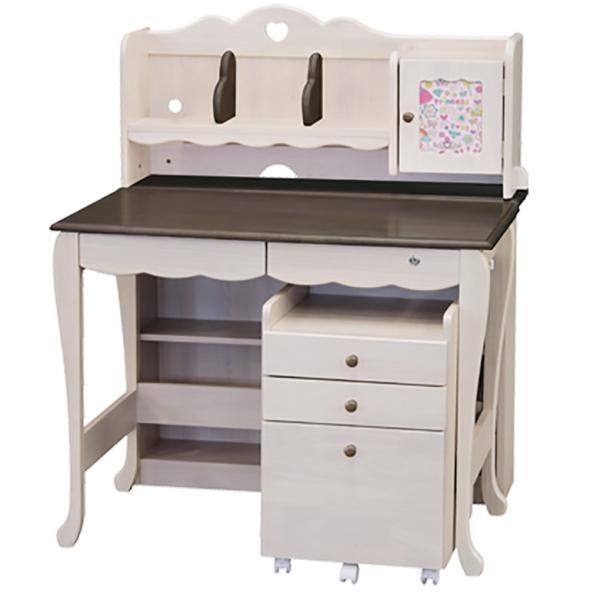 学習机 3点セット シンプル かわいい 白 ホワイト ブラウン ピンク パープル ハート システムデスク デスク ワゴン 書棚 組替え 子供部屋家具|aneinn|23