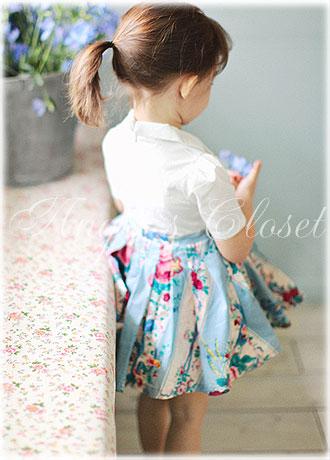 フェイクツーピースレトロワンピース(花柄スカート)AM01【Amber】/子供ドレスのAngel'sCloset
