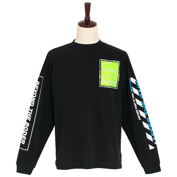 Tシャツ メンズ 長袖 プリント クルーネック カットソー ビッグシルエット 韓国 ストリート ファッション ホワイト ブラック 白 黒 春 秋 冬|antenna-mens|14