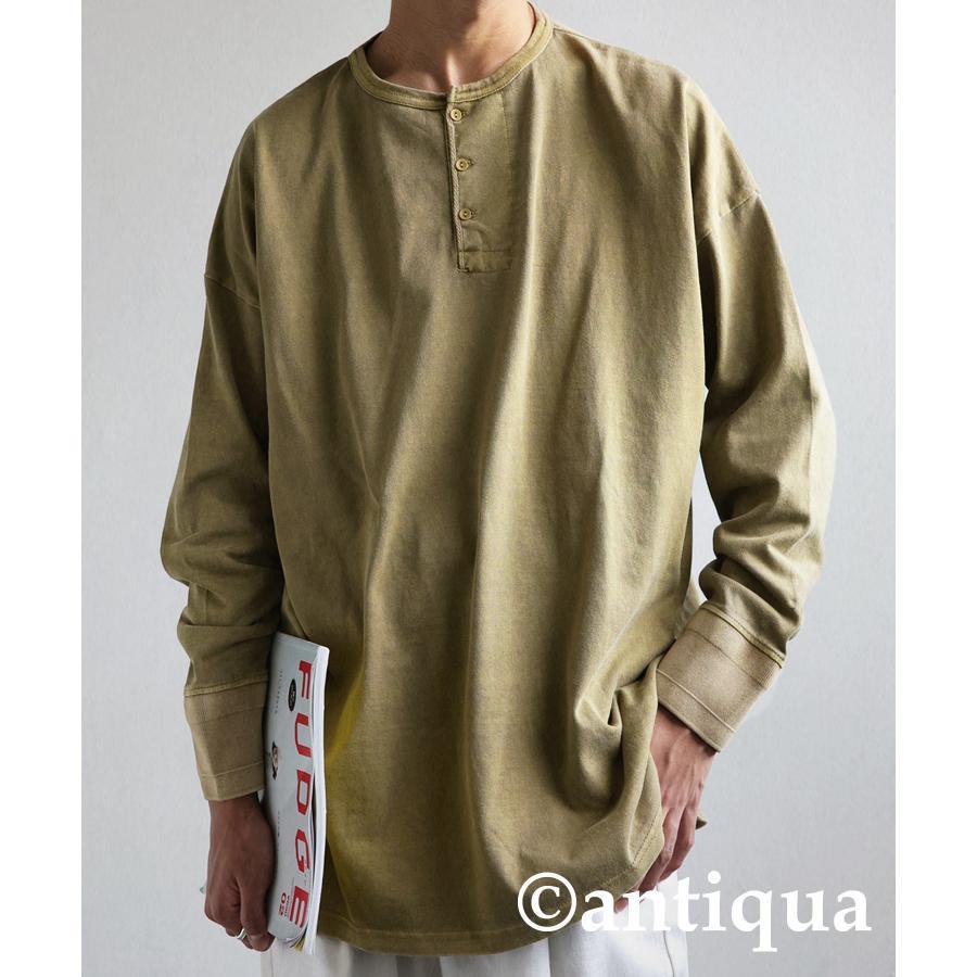ヘンリーネックバスクT ロンT Tシャツ メンズ 長袖 綿・再再販。メール便不可 antiqua 25