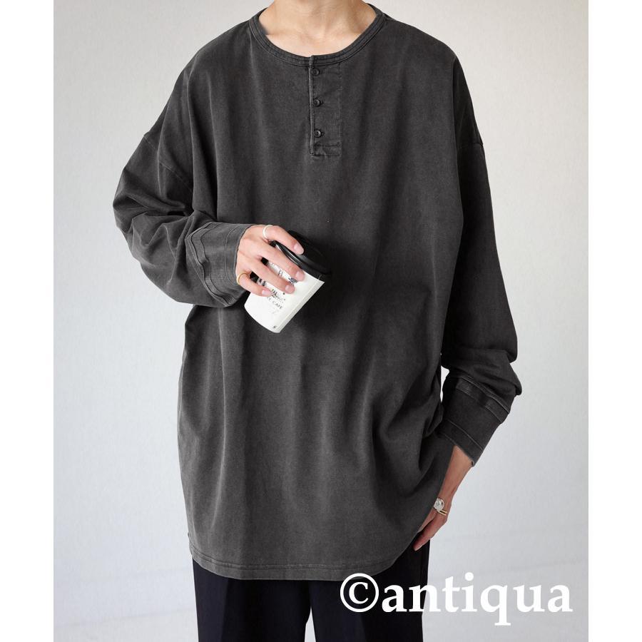 ヘンリーネックバスクT ロンT Tシャツ メンズ 長袖 綿・再再販。メール便不可 antiqua 22