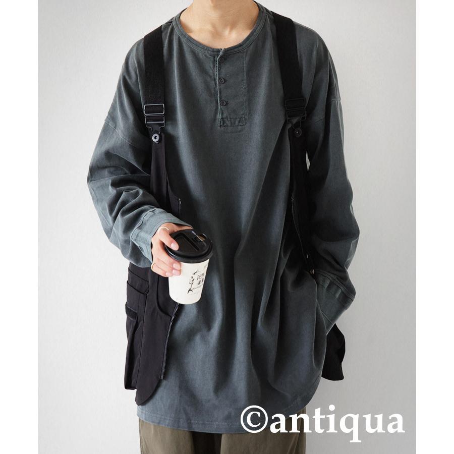 ヘンリーネックバスクT ロンT Tシャツ メンズ 長袖 綿・再再販。メール便不可 antiqua 23