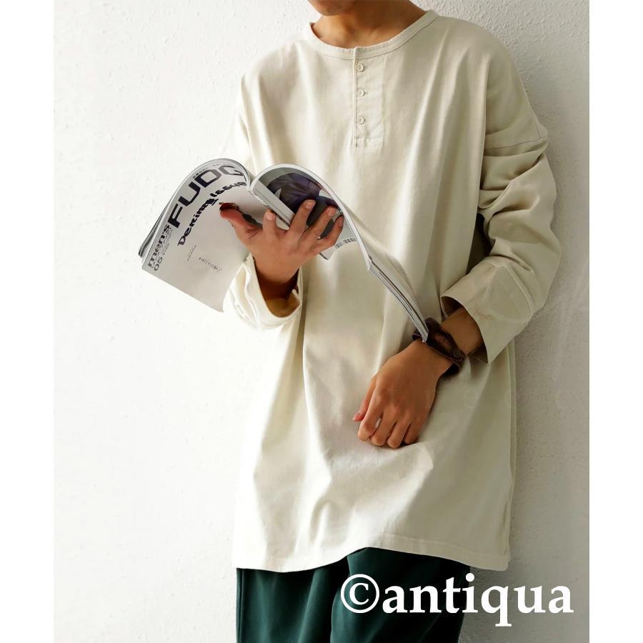 ヘンリーネックバスクT ロンT Tシャツ メンズ 長袖 綿・再再販。メール便不可 antiqua 21
