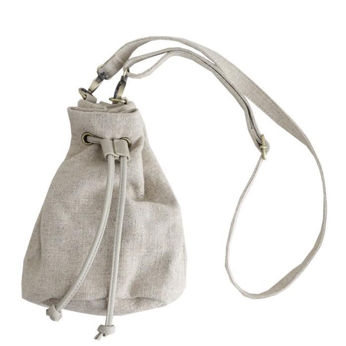 バッグ レディース 巾着 ショルダーバッグ ドロストバッグ リネン巾着バッグ・4月15日0時〜再販。メール便不可 母の日|antiqua|15