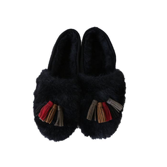 靴 モカシン ファー オリジナル タッセル付き極ふわファーシューズ 送料無料・再販。メール便不可|antiqua|21
