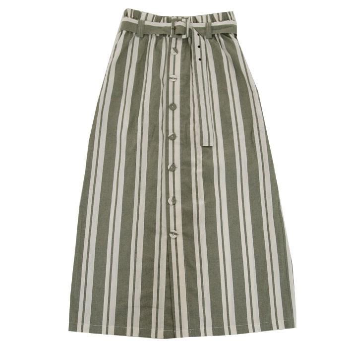 ボトムス スカート ロング レディース 綿 綿100% ストライプスカート・再再販。メール便不可 母の日 antiqua 22