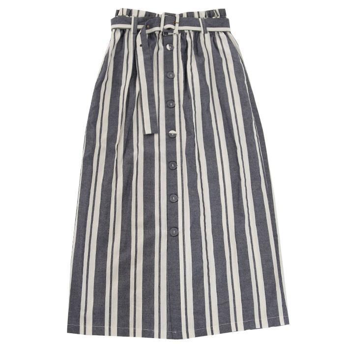 ボトムス スカート ロング レディース 綿 綿100% ストライプスカート・再再販。メール便不可 母の日 antiqua 23