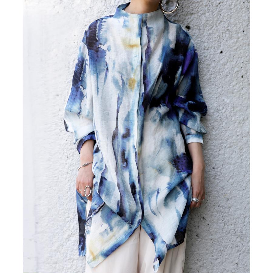 アート柄シャツ シャツ レディース トップス 長袖 送料無料・再再販。80ptメール便可|antiqua|13