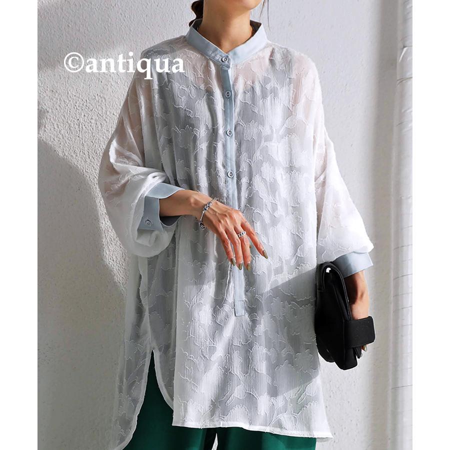 花柄シアーシャツ シャツ レディース トップス 柄 送料無料・再再販。メール便不可 antiqua 16