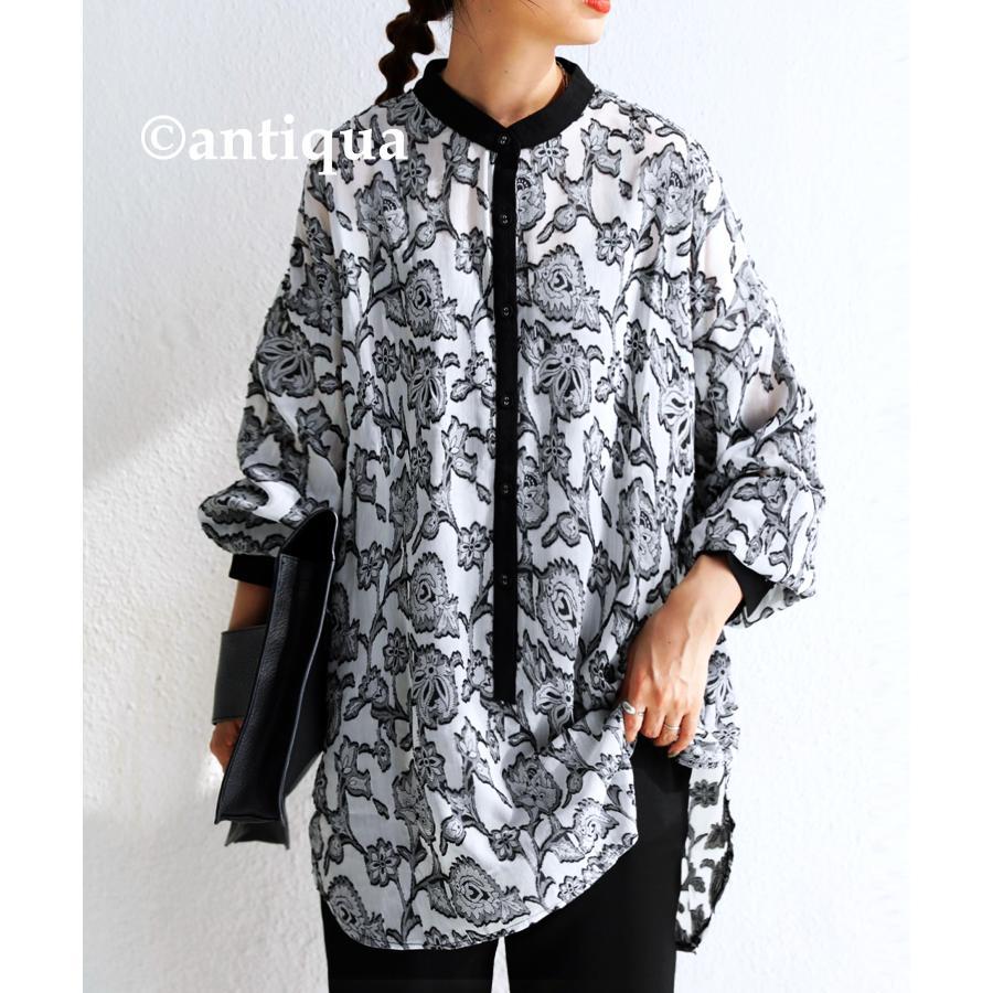 花柄シアーシャツ シャツ レディース トップス 柄 送料無料・再再販。メール便不可 antiqua 18