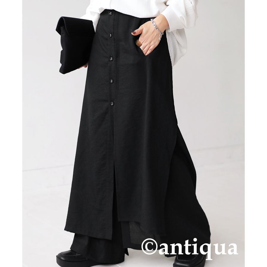まるでスカートのような上品な佇まい。デザインワイドパンツ 送料無料・再再販。メール便不可 母の日|antiqua|20