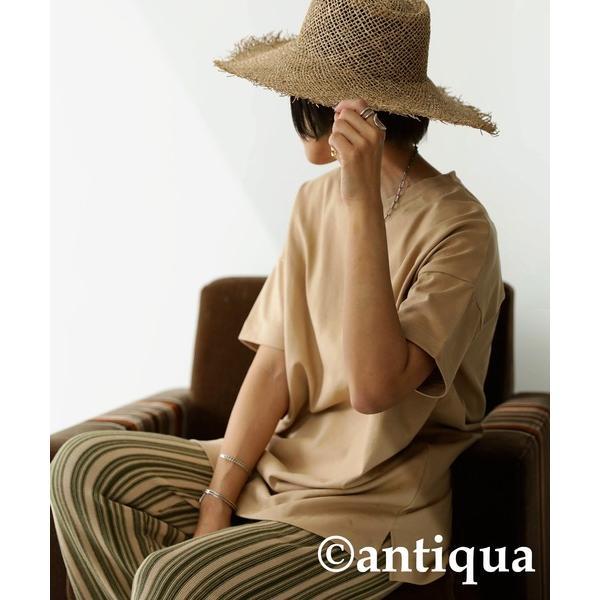 Tシャツ レディース トップス ゆったり プルオーバー 五分袖 綿100% 大きいサイズ・3月5日0時〜再再販。メール便不可 母の日|antiqua|28