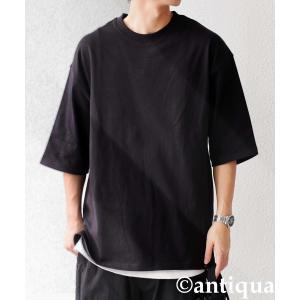 トップス Tシャツ メンズ 半袖 リブ 綿・8月5日0時〜再販。新色追加!既存色の発送は8/6〜 新色の発送は8/11〜。100ptメール便可 antiqua 22