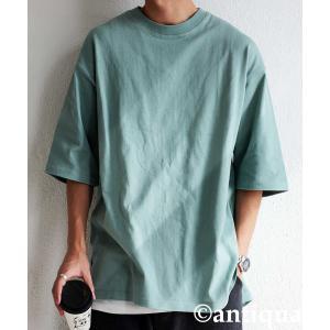 トップス Tシャツ メンズ 半袖 リブ 綿・8月5日0時〜再販。新色追加!既存色の発送は8/6〜 新色の発送は8/11〜。100ptメール便可 antiqua 32