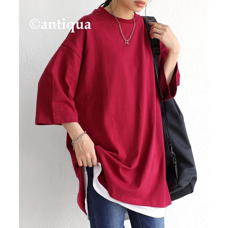 ビッグシルエット Tシャツ レディース バスクT 綿100・9月19日10時〜再再販。メール便不可|antiqua|35