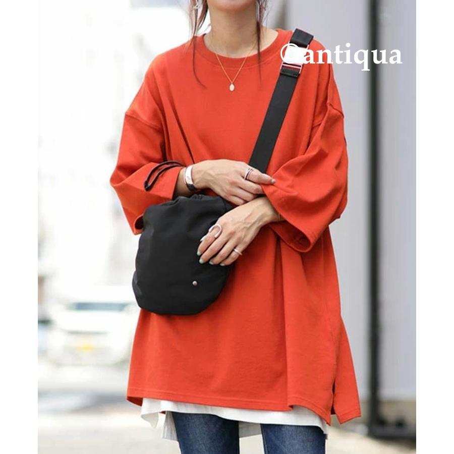 ビッグシルエット Tシャツ レディース バスクT 綿100・9月19日10時〜再再販。メール便不可|antiqua|34