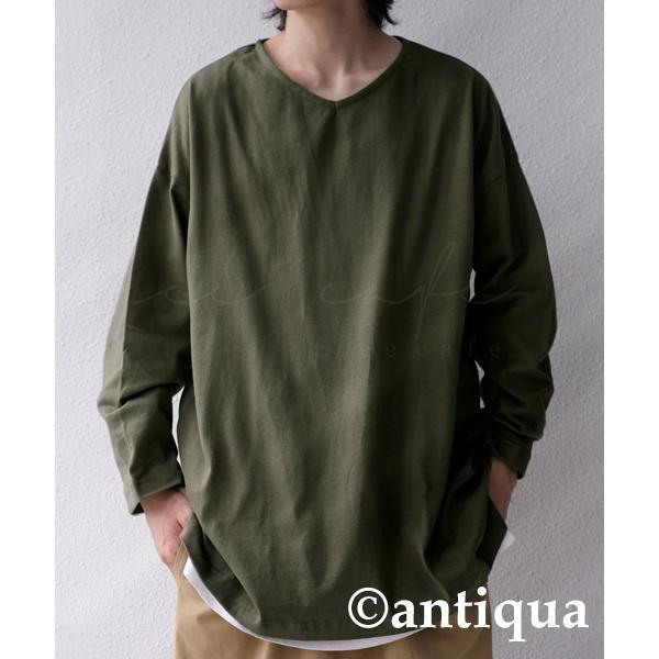 VネックバスクロンT ロンT メンズ トップス 長袖 綿・5月15日0時〜再再販。メール便不可|antiqua|24