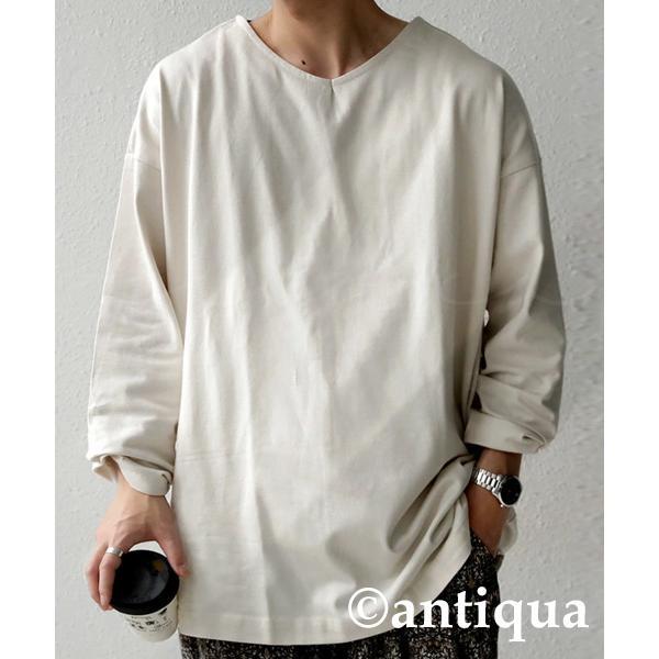 VネックバスクロンT ロンT メンズ トップス 長袖 綿・5月15日0時〜再再販。メール便不可|antiqua|22