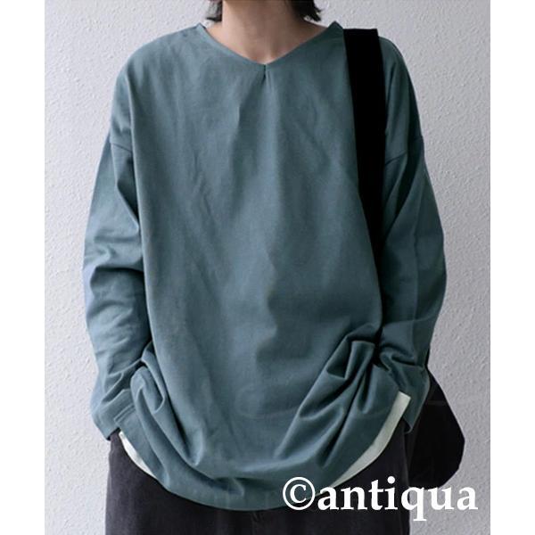 VネックバスクロンT ロンT メンズ トップス 長袖 綿・5月15日0時〜再再販。メール便不可|antiqua|27