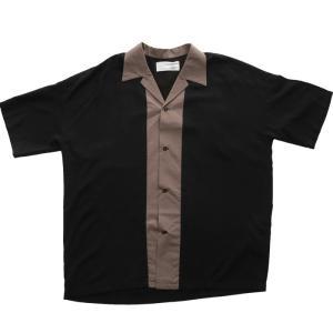 トップス シャツ メンズ 半袖 レーヨン バイカラー ユニセックス レトロバイカラーシャツ・メール便不可 antiqua 18