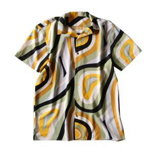 トップス シャツ 半袖 メンズ 総柄 配色 ユニセックス レトロ柄シャツ・50ptメール便可 antiqua 17
