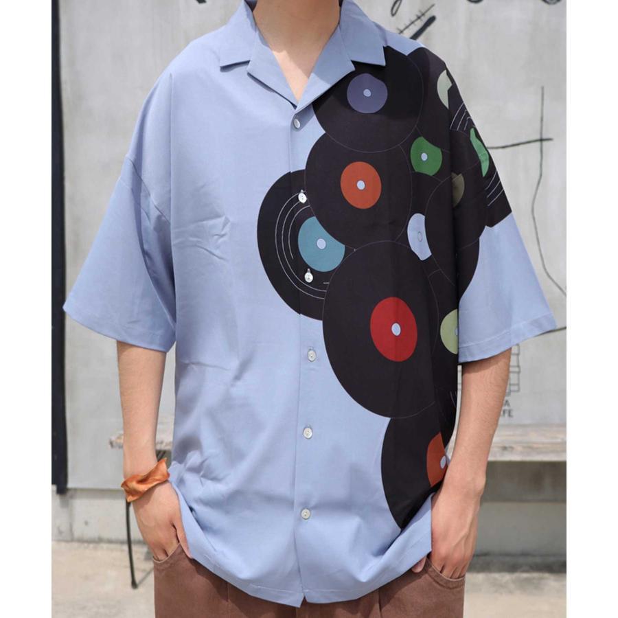 レコード柄開襟シャツ シャツ メンズ トップス 柄 送料無料・4月20日0時〜発売。メール便不可【MENS】|antiqua|24