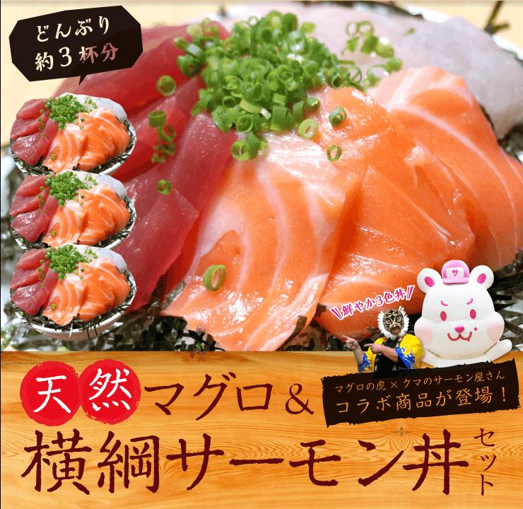 天然マグロ&横綱サーモン丼セット