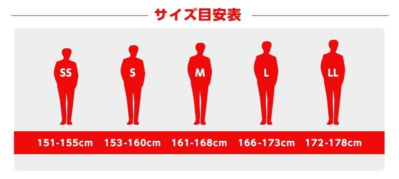 つなぎをサイズで選ぶ 目安表